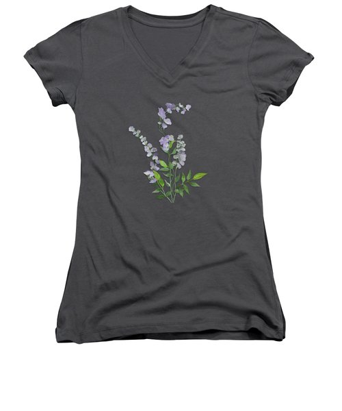 Women's V-Neck featuring the painting Purple Tiny Flowers by Ivana Westin