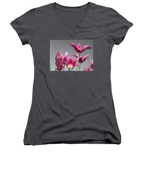 Purple Tulips Women's V-Neck T-Shirt (Junior Cut) by Helen Northcott