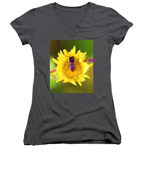 Women's V-Neck T-Shirt (Junior Cut) featuring the photograph Purple Wings by John King