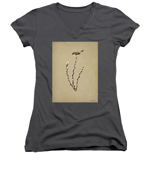 Pussy Willow And Chickadee Women's V-Neck (Athletic Fit)