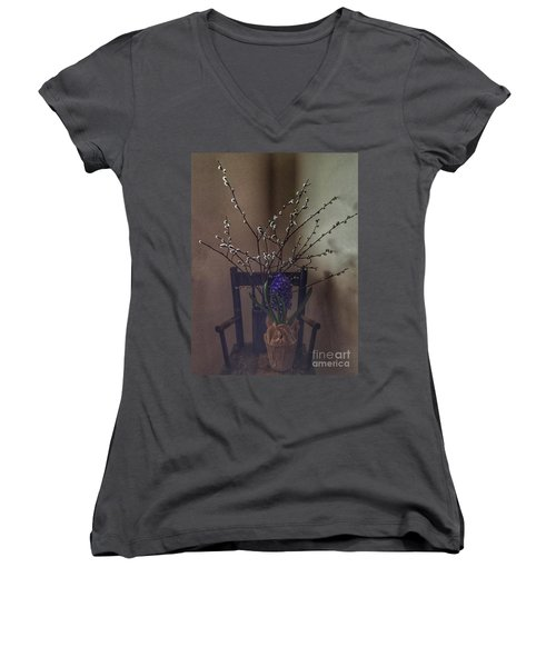 Pussy Willow And Hyacinth Still Life Women's V-Neck (Athletic Fit)