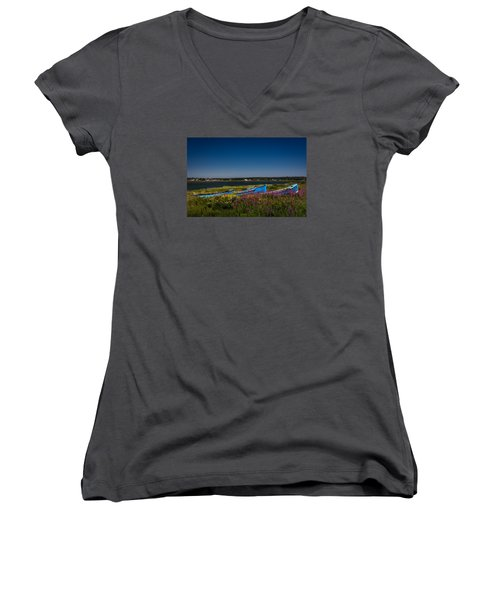 Put Out To Pature Women's V-Neck T-Shirt (Junior Cut) by Peter Scott