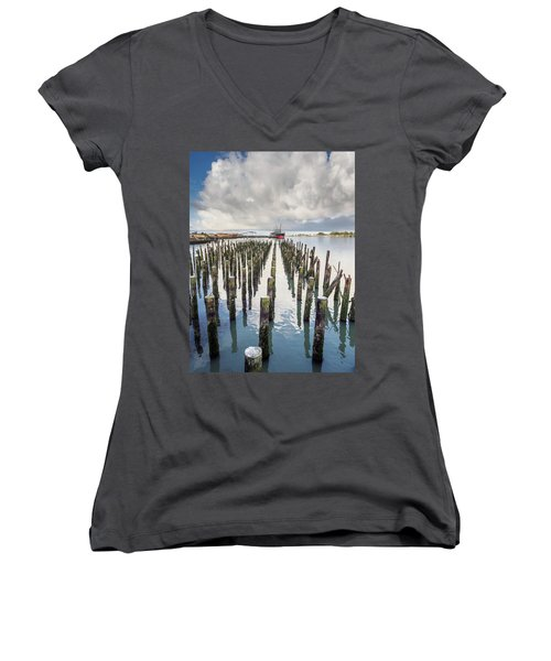 Women's V-Neck T-Shirt (Junior Cut) featuring the photograph Pylons To The Ship by Greg Nyquist
