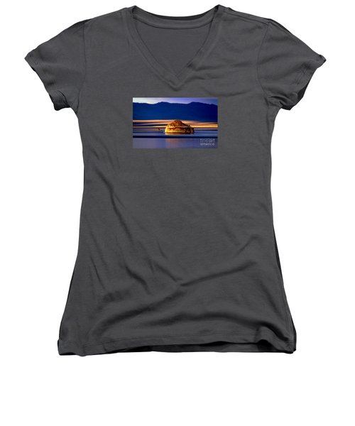 Women's V-Neck T-Shirt (Junior Cut) featuring the photograph Pyramid Lake Nevada by Irina Hays