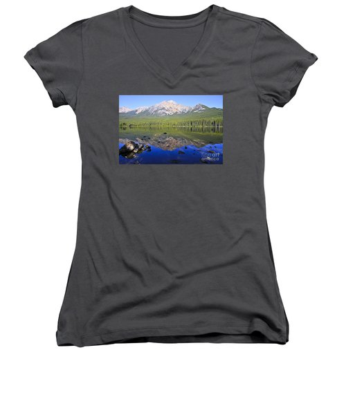 Pyramid Lake Reflection Women's V-Neck T-Shirt (Junior Cut)
