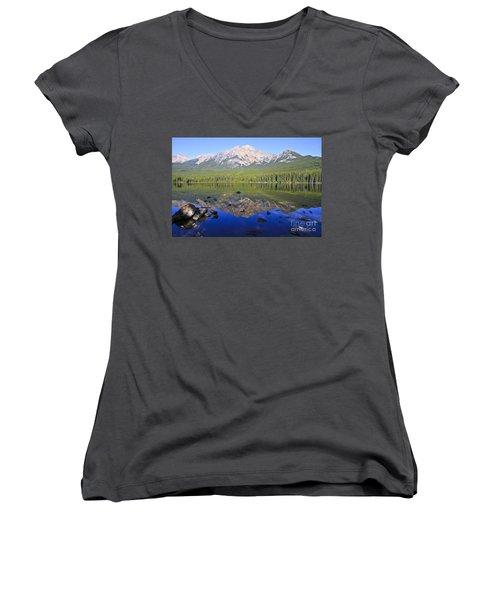 Pyramid Lake Reflection Women's V-Neck T-Shirt