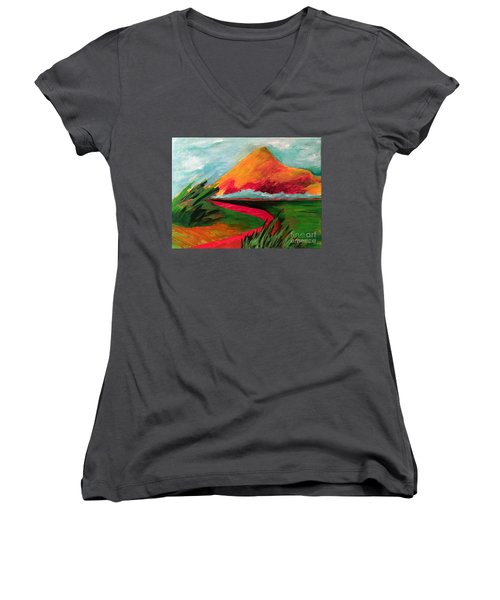 Pyramid Mountain Women's V-Neck T-Shirt (Junior Cut) by Elizabeth Fontaine-Barr