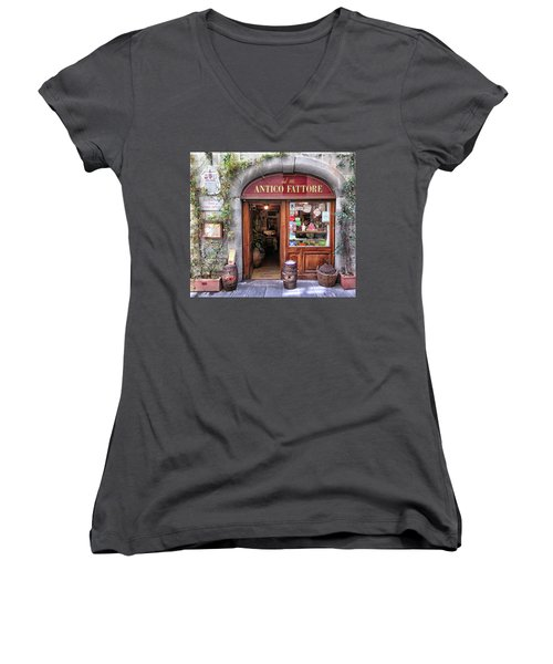 Quaint Restaurant In Florence Women's V-Neck T-Shirt (Junior Cut) by Dave Mills