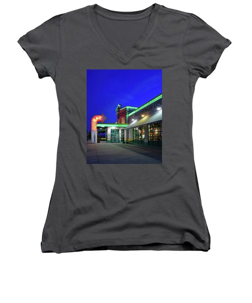 Women's V-Neck T-Shirt (Junior Cut) featuring the photograph Quaker Steak And Lube by Christopher McKenzie