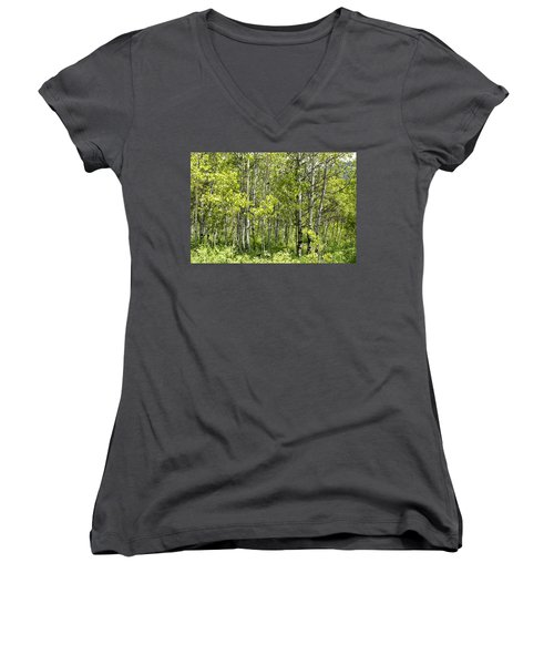 Women's V-Neck T-Shirt (Junior Cut) featuring the photograph Quaking Aspens 2 by Cynthia Powell