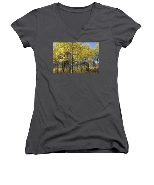 Women's V-Neck T-Shirt (Junior Cut) featuring the photograph Quaking Aspens by Cynthia Powell