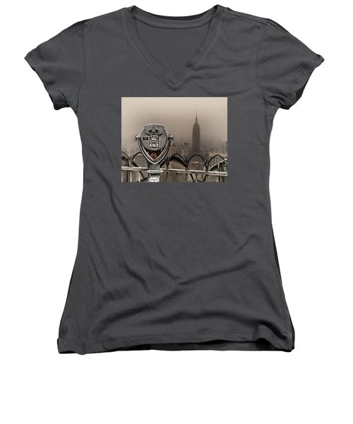 Women's V-Neck T-Shirt (Junior Cut) featuring the photograph Quarters Only by Chris Lord