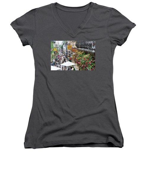 Women's V-Neck T-Shirt featuring the photograph Quartier Petit Champlain by John Schneider