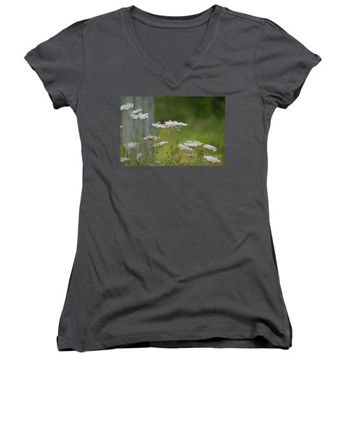Queen Anne Lace Wildflowers Women's V-Neck T-Shirt (Junior Cut) by Maria Urso