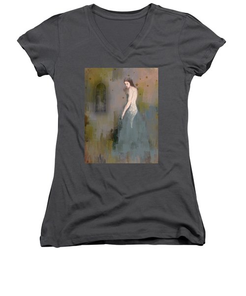Women's V-Neck T-Shirt (Junior Cut) featuring the digital art Queen by Lisa Noneman