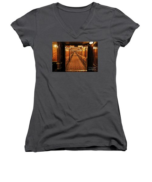 Women's V-Neck T-Shirt (Junior Cut) featuring the photograph Queen Mary Hallway by Mariola Bitner