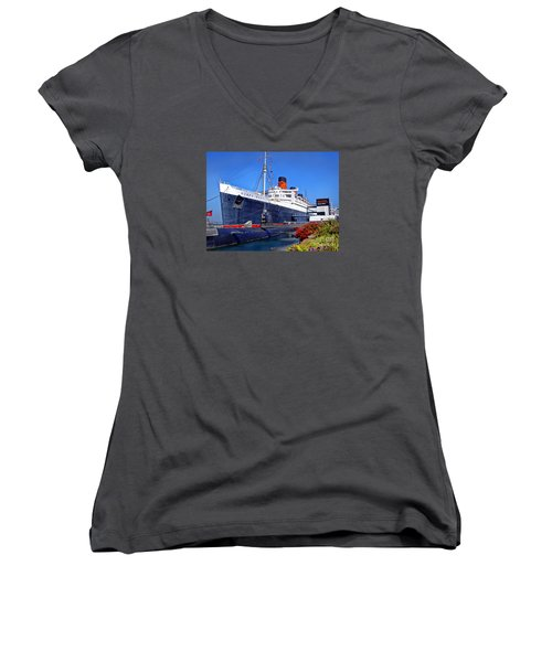 Women's V-Neck T-Shirt (Junior Cut) featuring the photograph Queen Mary Ship by Mariola Bitner