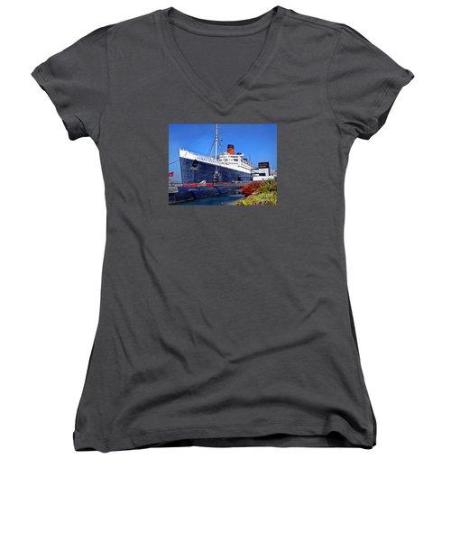 Queen Mary Ship Women's V-Neck T-Shirt (Junior Cut) by Mariola Bitner
