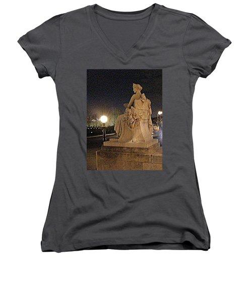 Queen Of Art Hill Women's V-Neck T-Shirt (Junior Cut) by Nancy Kane Chapman