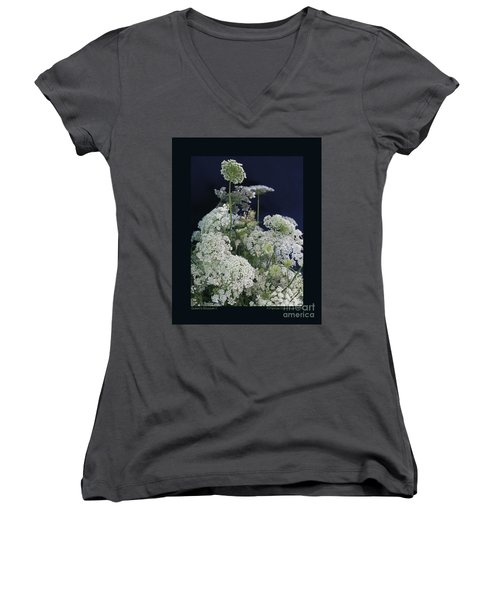 Women's V-Neck T-Shirt (Junior Cut) featuring the photograph Queen's Bouquet-ii by Patricia Overmoyer