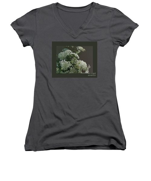 Women's V-Neck T-Shirt (Junior Cut) featuring the photograph Queen's Bouquet by Patricia Overmoyer