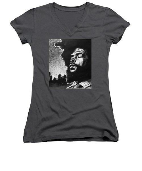Women's V-Neck T-Shirt (Junior Cut) featuring the painting Questlove. by Darryl Matthews