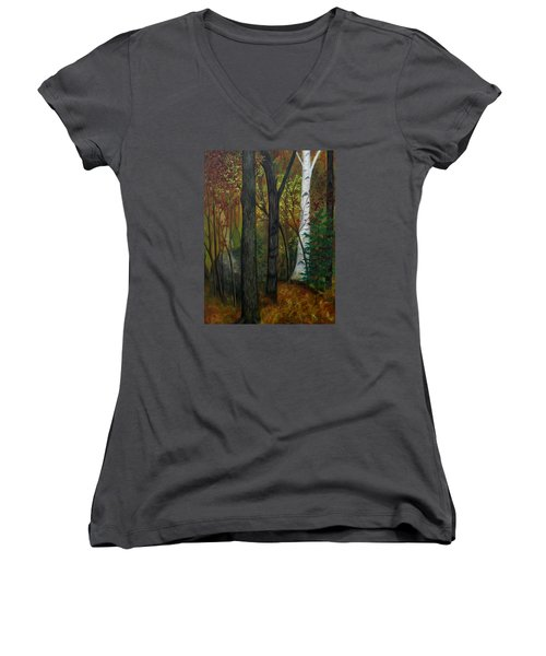 Quiet Autumn Woods Women's V-Neck