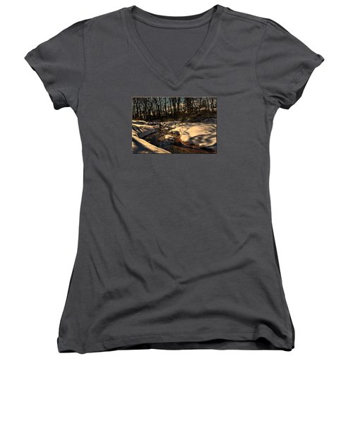 Quiet Brook On A Snowcovered Landscape Women's V-Neck T-Shirt (Junior Cut) by Mikki Cucuzzo