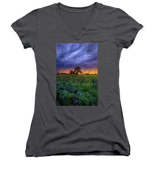 Quietly Drifting By Women's V-Neck T-Shirt (Junior Cut) by Phil Koch