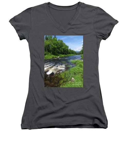 Quill Pond Brook Near Rangeley Maine  -70748 Women's V-Neck