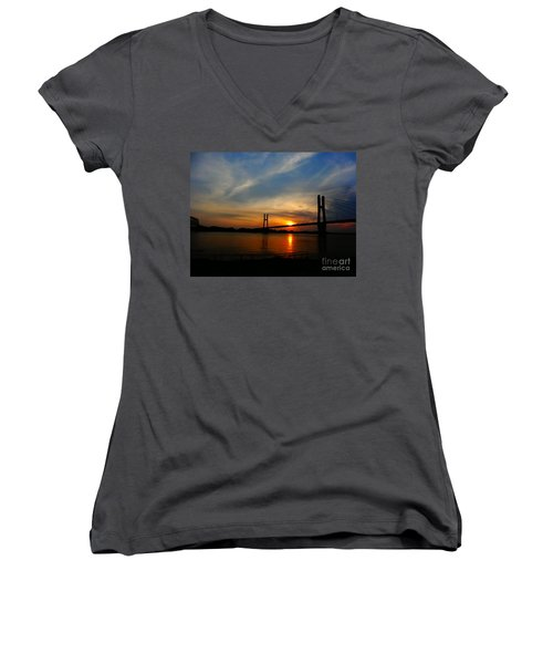 Quincy Bay View Bridge Sunset Women's V-Neck T-Shirt (Junior Cut) by Justin Moore
