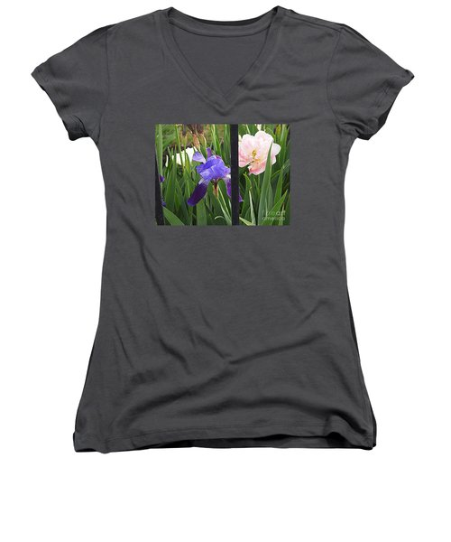 Women's V-Neck T-Shirt (Junior Cut) featuring the photograph Quite The Pair by Nancy Kane Chapman