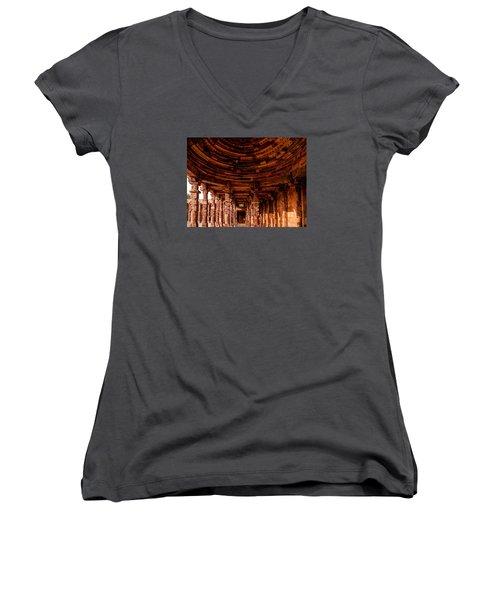 Qutub Minar Women's V-Neck T-Shirt (Junior Cut) by M G Whittingham