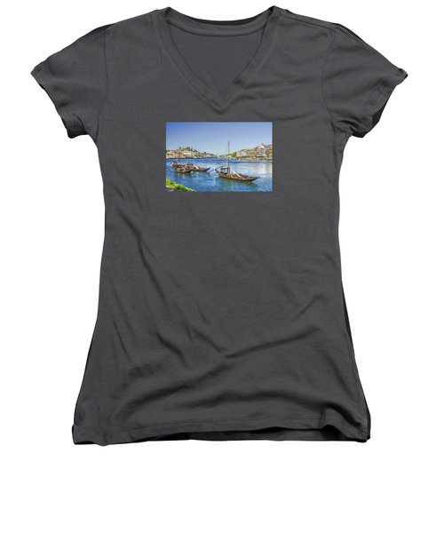 Women's V-Neck T-Shirt (Junior Cut) featuring the photograph Rabelos On The Douro by Brian Tarr