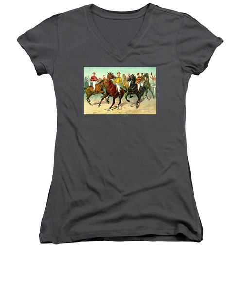 Racehorses 1893 Women's V-Neck T-Shirt (Junior Cut) by Padre Art