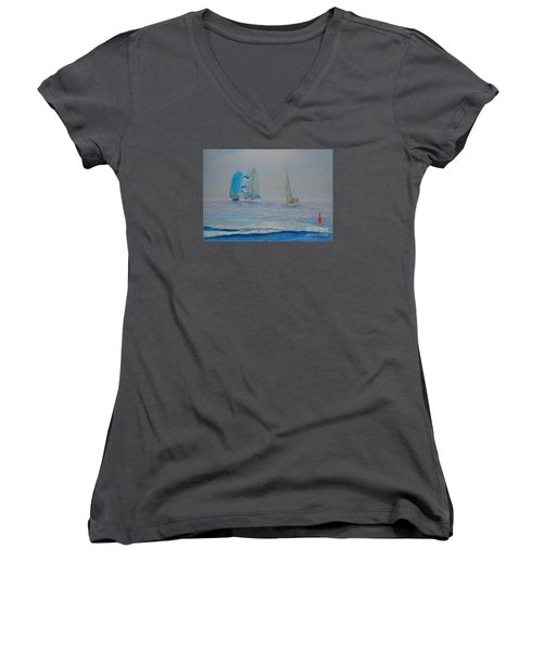 Raceing In The Fog Women's V-Neck T-Shirt (Junior Cut) by Rae  Smith