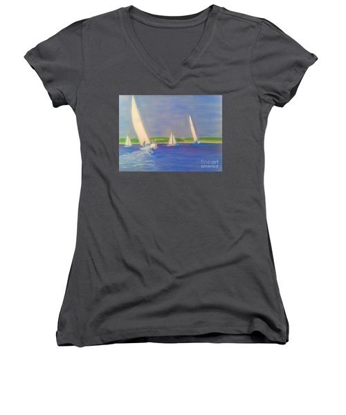 Racing Off Chester Women's V-Neck T-Shirt (Junior Cut) by Rae  Smith