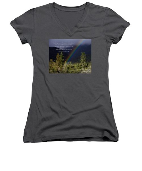 Women's V-Neck T-Shirt (Junior Cut) featuring the photograph Radiance Of The Rainbow by Debby Pueschel