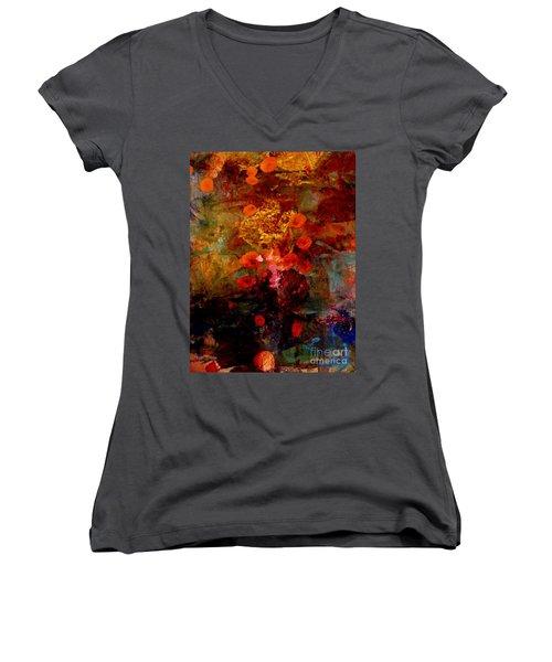 Radiant Red Women's V-Neck T-Shirt (Junior Cut) by Nancy Kane Chapman