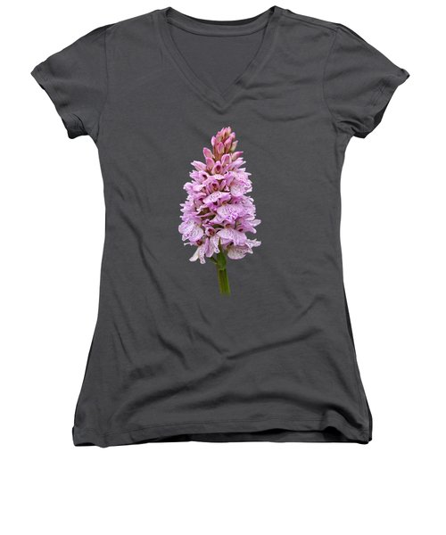 Radiant Wild Pink Spotted Orchid Women's V-Neck (Athletic Fit)