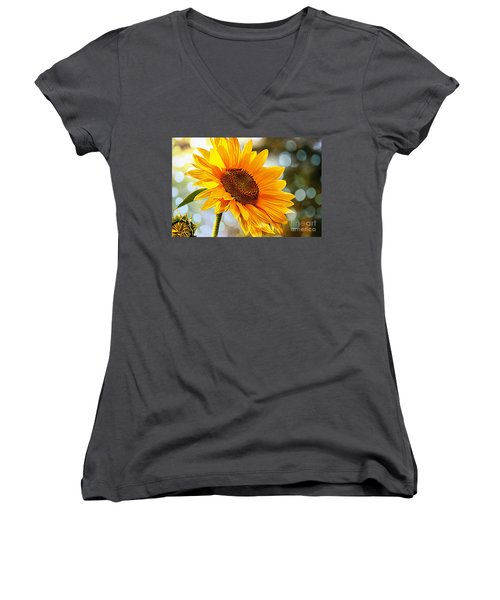 Radiant Yellow Sunflower Women's V-Neck (Athletic Fit)