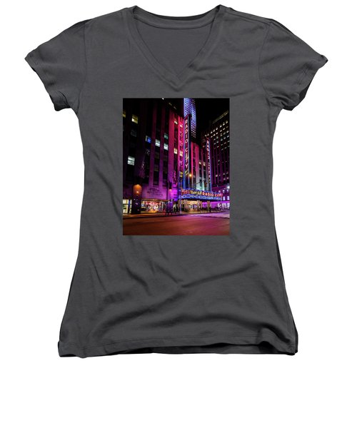 Women's V-Neck T-Shirt (Junior Cut) featuring the photograph Radio City Music Hall by M G Whittingham