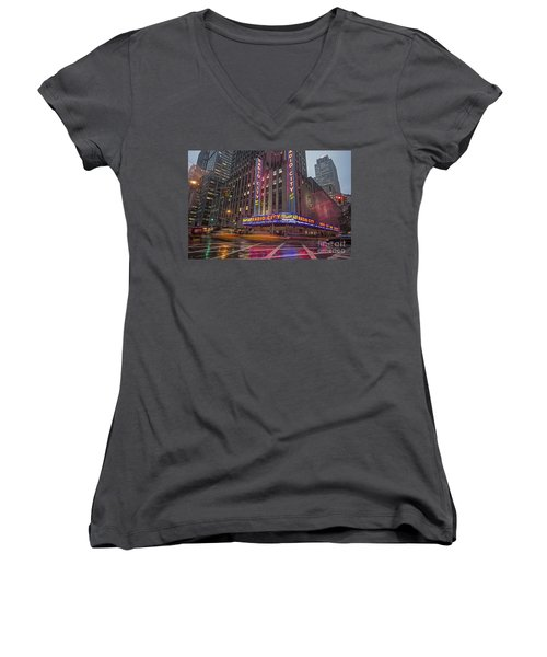 Women's V-Neck featuring the photograph Radio City New York  by Juergen Held