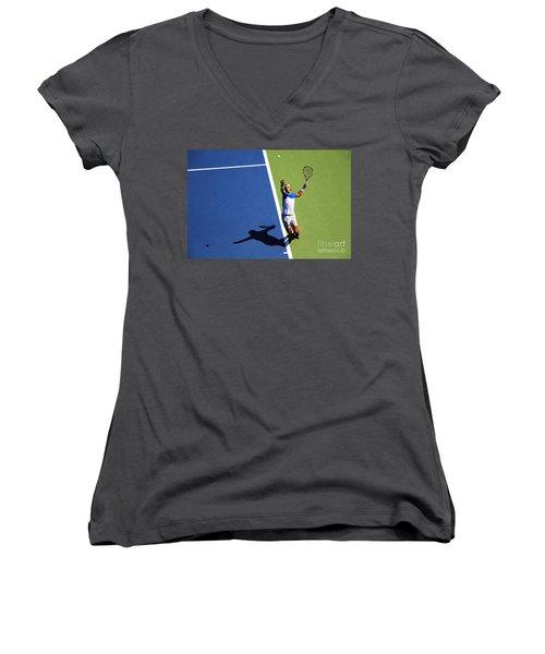 Rafeal Nadal Tennis Serve Women's V-Neck T-Shirt (Junior Cut) by Nishanth Gopinathan