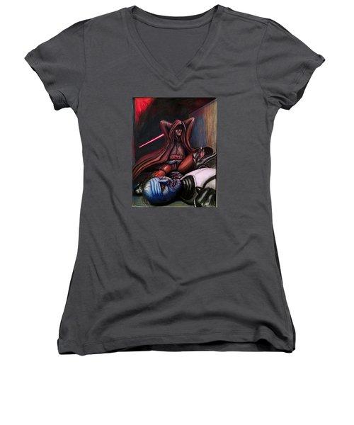 Rage Of The Jedi Women's V-Neck T-Shirt (Junior Cut) by Chris Benice