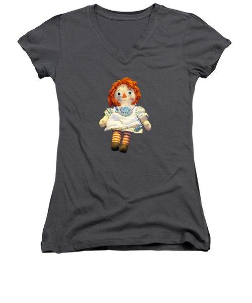 Raggedy Ann Doll Women's V-Neck T-Shirt (Junior Cut) by Pamela Walton