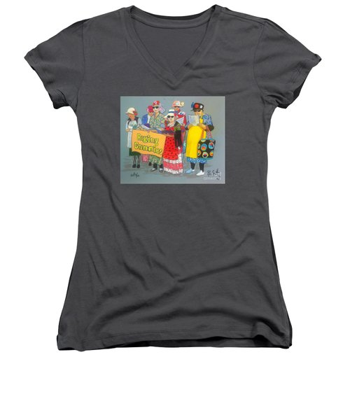Raging Grannies  Women's V-Neck T-Shirt (Junior Cut) by Rae  Smith