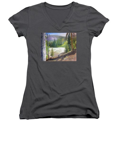 Raging River Women's V-Neck T-Shirt (Junior Cut) by Sherril Porter