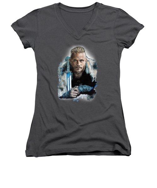 Ragnar Lothbrok Women's V-Neck T-Shirt (Junior Cut) by Melanie D