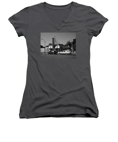 Women's V-Neck T-Shirt (Junior Cut) featuring the photograph Raifords Disco Memphis A Bw by Mark Czerniec